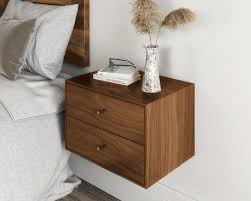 <b>Floating nightstand</b> with 2 drawers in solid <b>Black</b> Walnut / Mid ...
