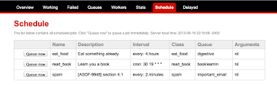 resque resque scheduler a light weight job scheduling the schedule tab