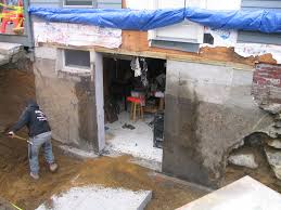 door bottom sill brick concrete block my plan here was to bury the knocked out concrete wall slab under the