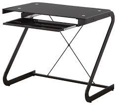 black metal computer desk gl top keyboard drawer z shaped black metal computer desk
