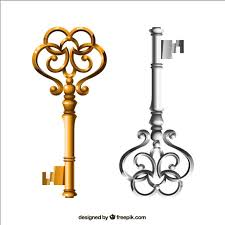 <b>Gold and silver</b> keys in <b>retro</b> style Vector   Free Download