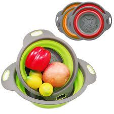<b>2Pcs</b>/<b>Lot</b> Kitchen <b>Folding</b> Filter Basket <b>Collapsible Silicone Colander</b> ...