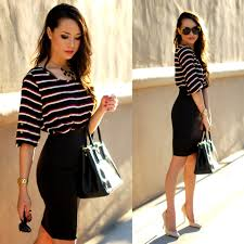 jessica r style in kind striped top dailylook black bodycon prada saffiano lux bag enzo angiolini nude heels statement baubles black necklace kristin perry rose rimmed sunnies work style lookbook