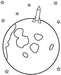 Small Picture Rocket Landing on the Moon Coloring Page Space