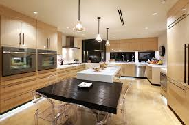 kitchen eat in kitchen idea in other with flat panel cabinets and light wood cabinets cabinet and lighting