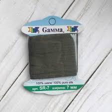 """<b>SR</b>-<b>7 7</b> мм <b>Лента</b> декоративная """"<b>Gamma</b>"""" шелковая №226 хаки ..."""
