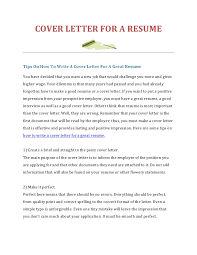 how to write a cover letter for a resumecover letter for a resumetips on how to write a cover letter for a great resumeyou