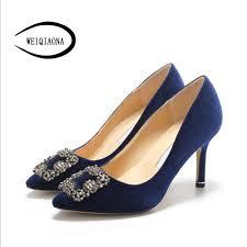 WEIQIAONA <b>2019 Flock</b> Brand Design Women shoes New Luxury ...