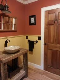 country bathroom colors: country bathroom remodel warm color application and marble sink also rustic lamp over sink that