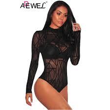 <b>ADEWEL</b> Sexy White <b>Flare</b> Lace Sleeve Ribbed Bodysuit <b>Long</b> ...