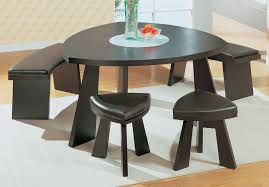 small dining tables sets: magnificent dark brown finish triangle mango wood dining table with three wooden base also benches which