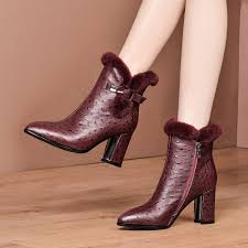 MLJUESE 2020 women ankle boots <b>cow leather winter</b> short plush ...