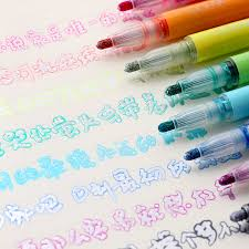 Double Line <b>Fluorescent Color</b> Markers Pen Poublen 8Pcs <b>Candy</b> ...