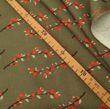 Remnant <b>1m Organic</b> Woven Fabric Canvas Beerenzweig, GOTS ...