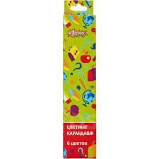 <b>Карандаши цветные</b> 6 цветов <b>№1 School</b> Отличник ...
