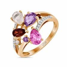 <b>Кольцо</b> c <b>аметистами</b>, бриллиантами, гранатами, кварцем и ...