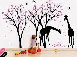 wall decor stickers makipera tree artfire markets tree wall decals giraffe birds nature forest animal wa
