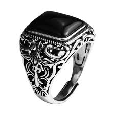 New Vintage Black Onyx Stone <b>Real 925 Sterling Silver</b> Ring For ...