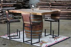 wine barrel bar pub table with redwood table top arched table top wine cellar furniture