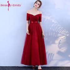 2019 <b>Beauty Emily Long</b> Burgundy Cheap Bridesmaid Dresses ...
