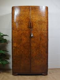 gentlemans c1930s art deco odeon wardrobe antique 2 door wardrobes art deco figured walnut wardrobe vintage
