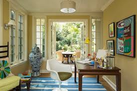 eclectic home office with a splash of blue design kell architects beautiful relaxing home office