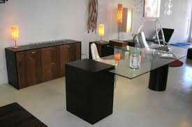 corner desks and stylish with black solid wood frame using rectangle glass top combination with walnut black glass top corner