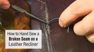 How to <b>Hand Sew</b> a Broken Seam on a <b>Leather</b> Recliner - YouTube