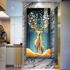 HD Printed Golden Elk Modern Simplicity Tree <b>Canvas Painting Wall</b> ...