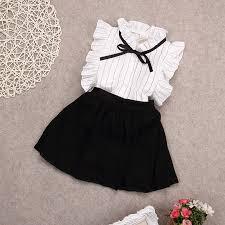 <b>2017 summer chiffon</b> Bow princess <b>Shirts blouse</b>+skirts 2pcs baby ...