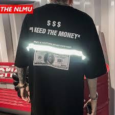 Men tshirts <b>US Dollar</b> Reflective Strip Maria Print <b>Hip Hop</b> T shirts ...