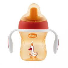 поильник chicco training cup полужесткий носик красный