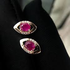 <b>shilovem 925</b> natural Natural Ruby Stud Earrings fine Jewelry ...