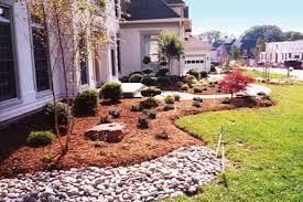 front landscape with flower bed inground sprinkler system and lighting area lighting flower bed
