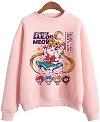 Adult Anime <b>Sailor Moon</b> Kawaii Kitty Art <b>Printed</b> Cotton Crewneck ...