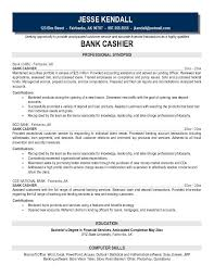 free bank cashier resume example