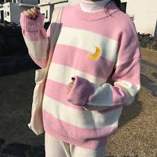 Women's <b>Sweaters</b> Kawaii Ulzzang College Wind Candy <b>Contrast</b> ...