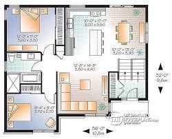 House plan W  V detail from DrummondHousePlans com    st level Affordable Split entry Modern Bungalow house plan   open floor plan   Aspendale