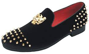 Justar <b>Men's</b> Spikes Dress <b>Shoes</b> Velvet Loafers with Gold Buckle ...