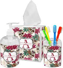 Skull Bathroom Decor Sugar Skulls Flowers Toothbrush Holder Personalized Potty
