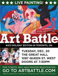 art battle 472 holiday edition everyone is welcome to attend the art battle holiday party the great hall is our place of work you can say this is an office party
