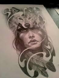 Indian <b>woman</b> face with <b>wolf</b> tattoo design …   Tattoos   <b>Wolf</b> tattoo ...