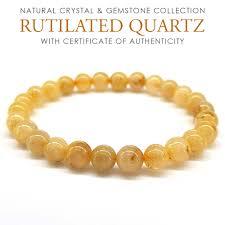 7mm <b>RUTILATED</b> QUARTZ <b>Gold</b> Needle Bracelet. <b>Natural</b> crystal ...