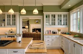 white kitchen windowed partition wall: white cabinets green walls crisp morrison   copy white cabinets green walls