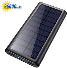 Solar Charger 26800mAh Portable Solar Power Bank with 4 <b>LEDs</b> ...