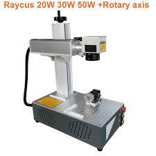 30w <b>Raycus</b> fiber laser marking machine portable fiber with <b>rotary</b> ...