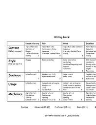 Creative Writing Rubric Unique Teaching Resources