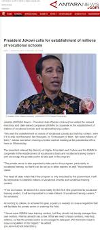 president jokowi calls for establishment of millions of vocational antaranewscom president jokowi calls for establishment of millions of