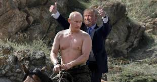 Putin and Trump on a horse