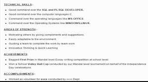 sql developer sample resume format